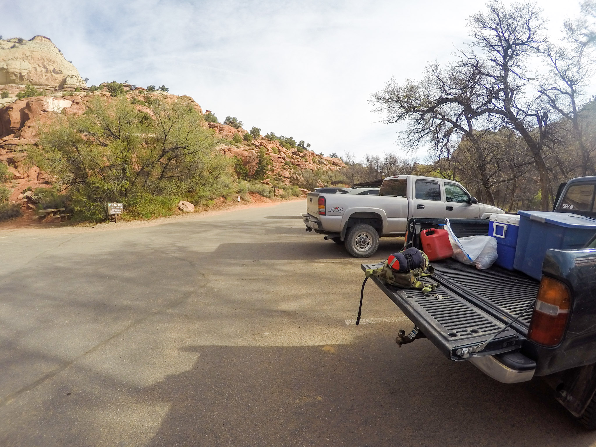 The parking lot by the trailhead and campground (on the right)