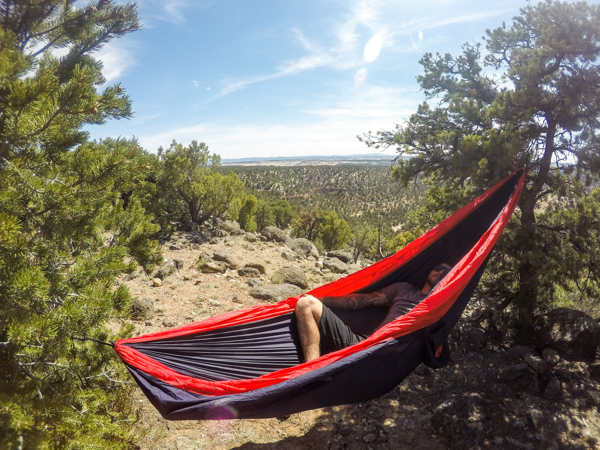 Requirements for the perfect camp site - trees for hammocking!