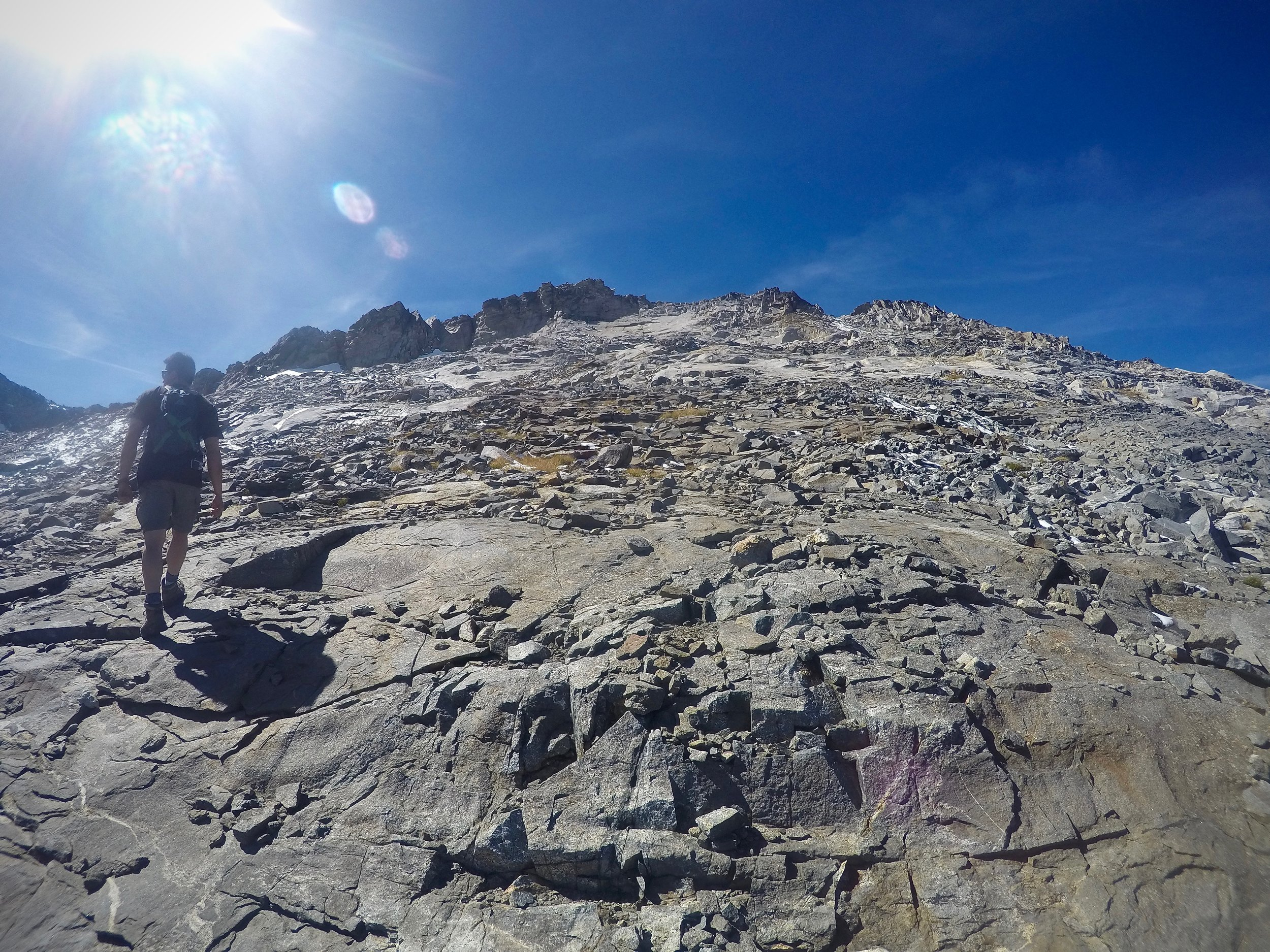 Crumbly, rocky terrain on the final ascent