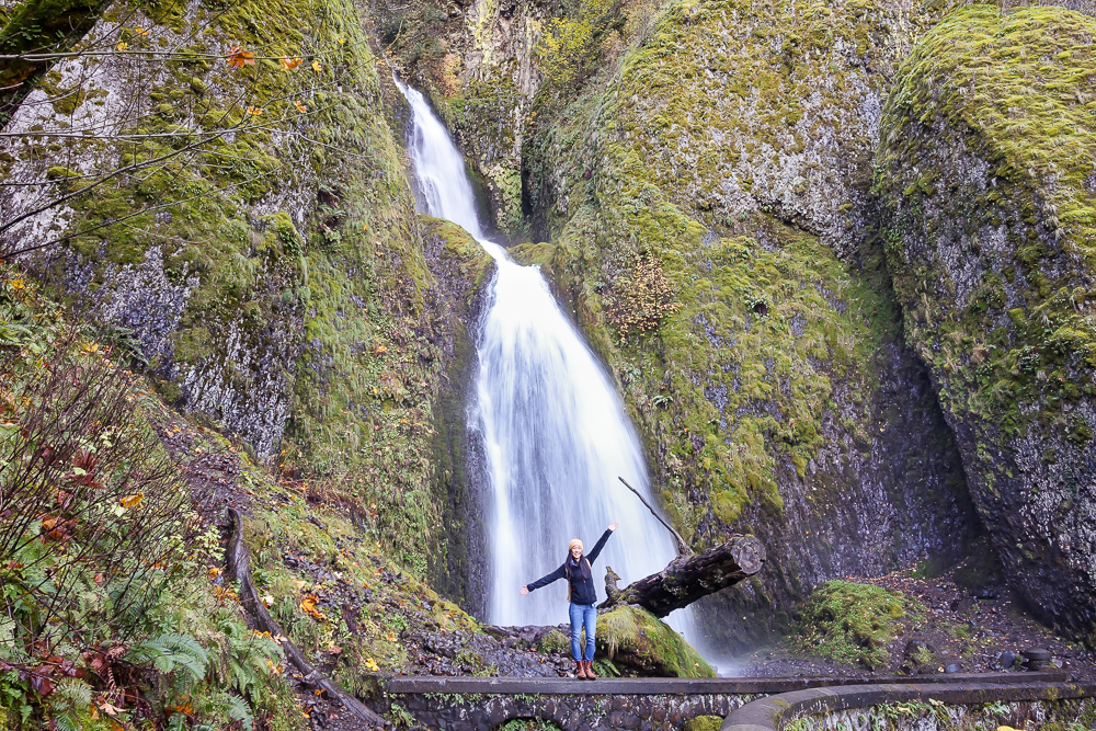 The double-tiered Wahkeena Falls