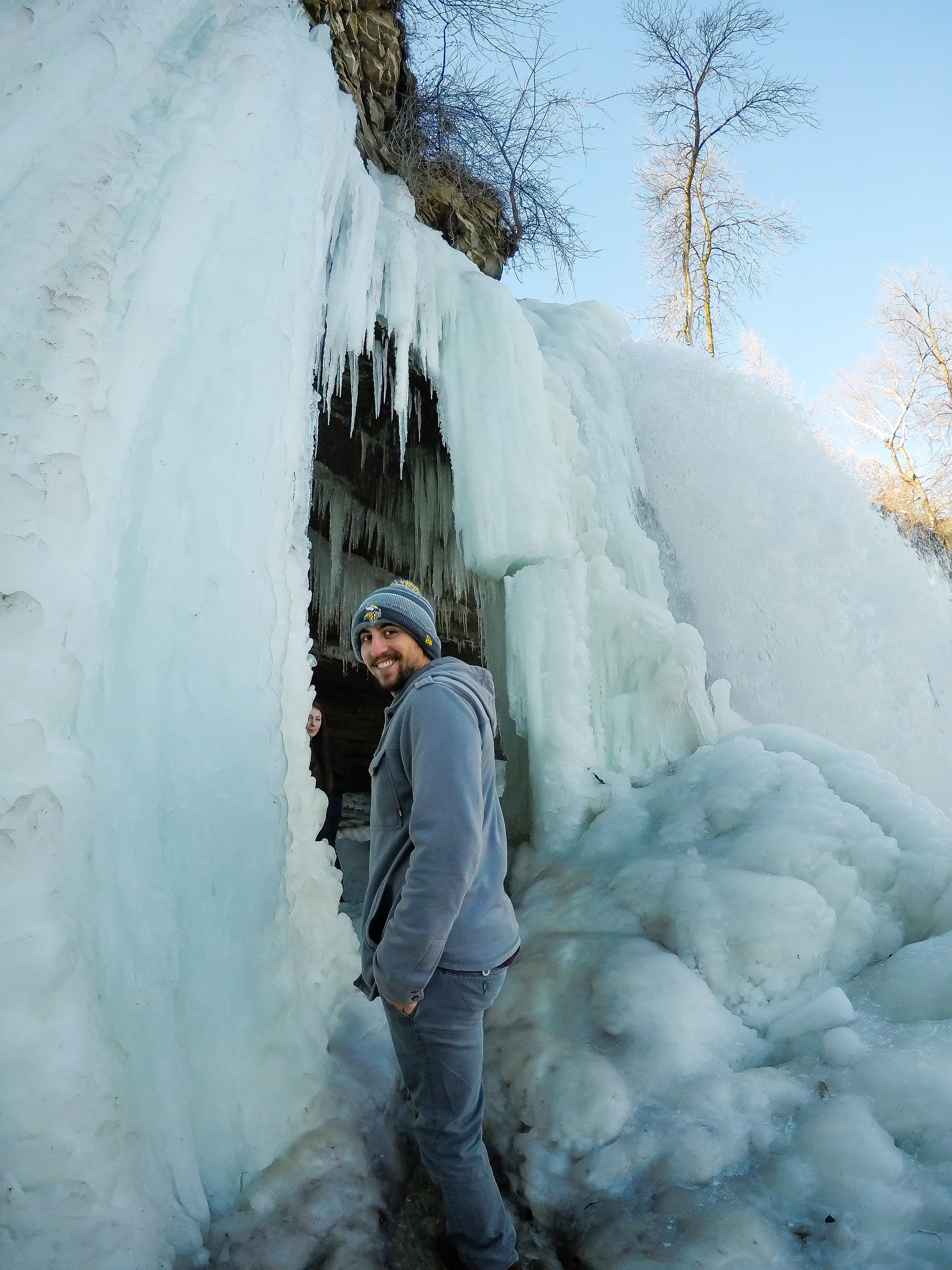 About to enter the cave created by the frozen falls