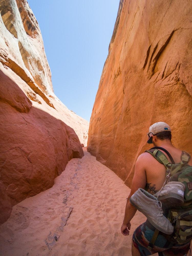 Slot canyon day hikes near Page, Arizona