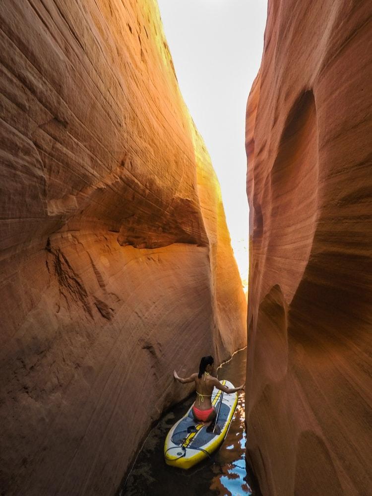 Using the narrow canyon walls to push through the canyon