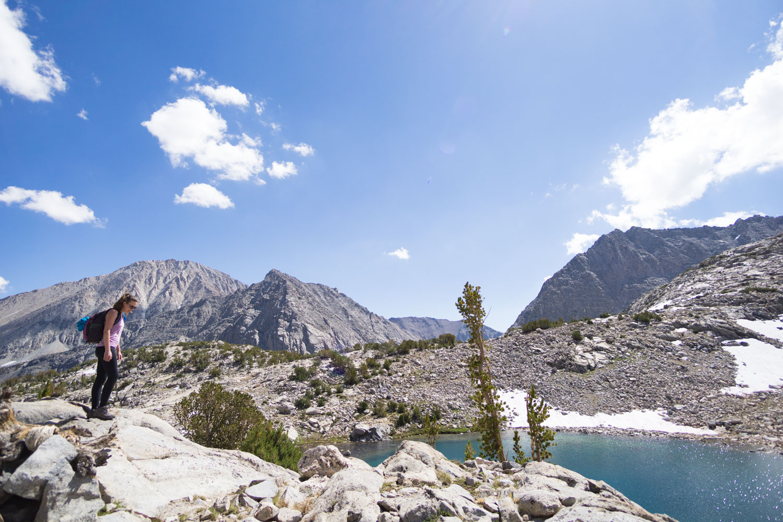 Traversing the ridgeline separating the lakes