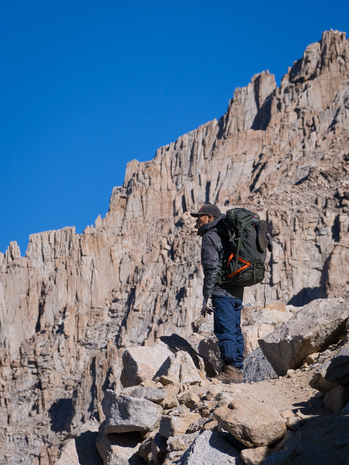 Resting at a switchback while climbing up the backside of Mt. Whitney