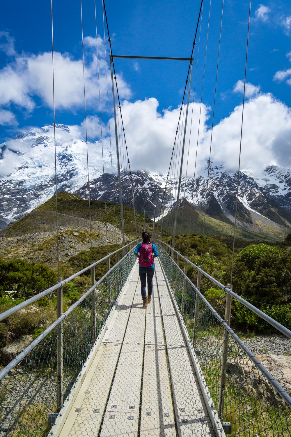 The epic view of the Sealy Range from the second swinging bridge