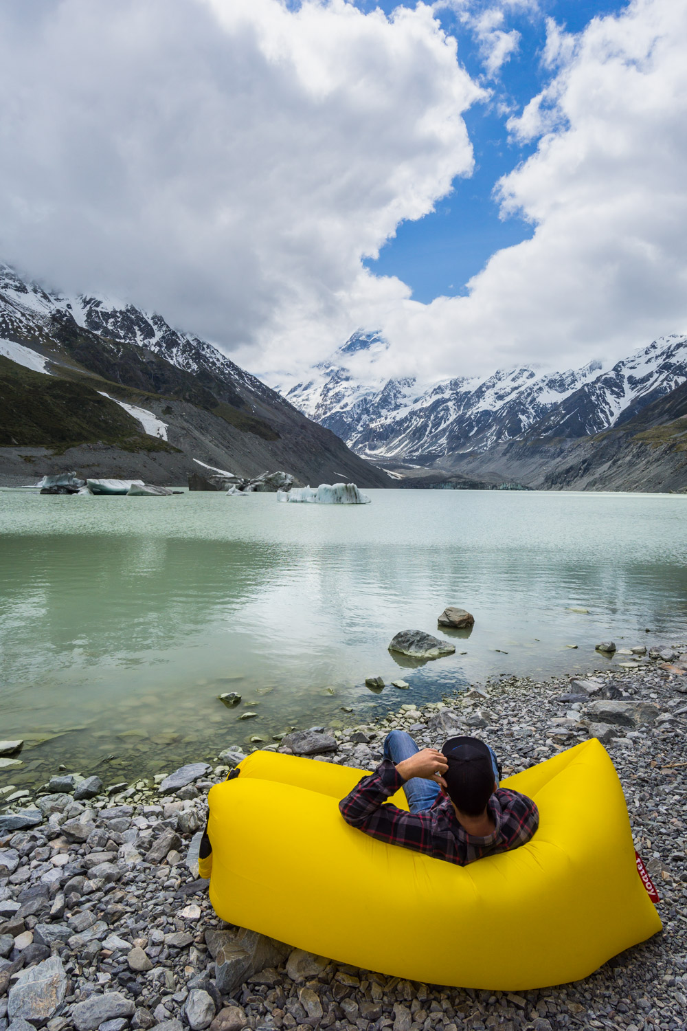 lamzac fatboy on the Hooker Lake beach