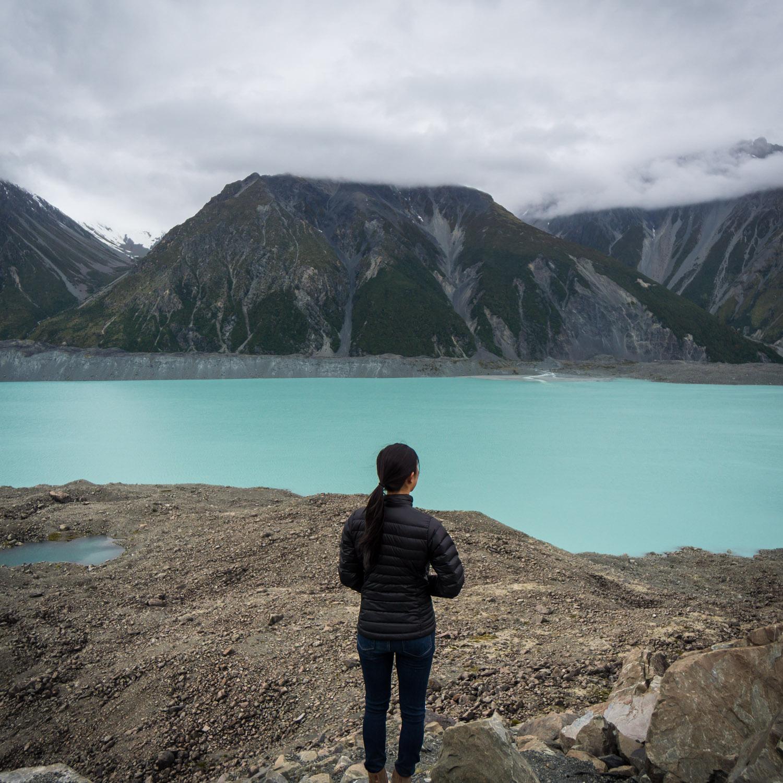 tasman glacier in aoraki mt cook national park