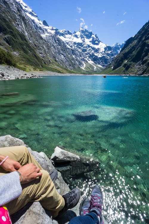 Having lunch at Lake Marian in Fiordland Park