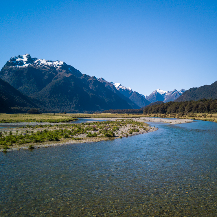 Aerial view of the valley during our fiordland road trip