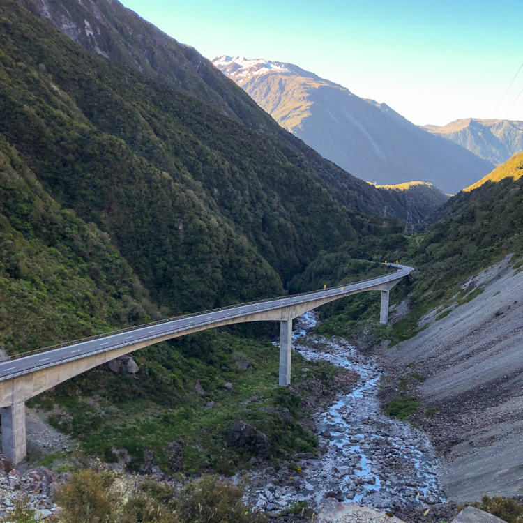The view of Otira Viaduct Lookout after climbing up the steep hill