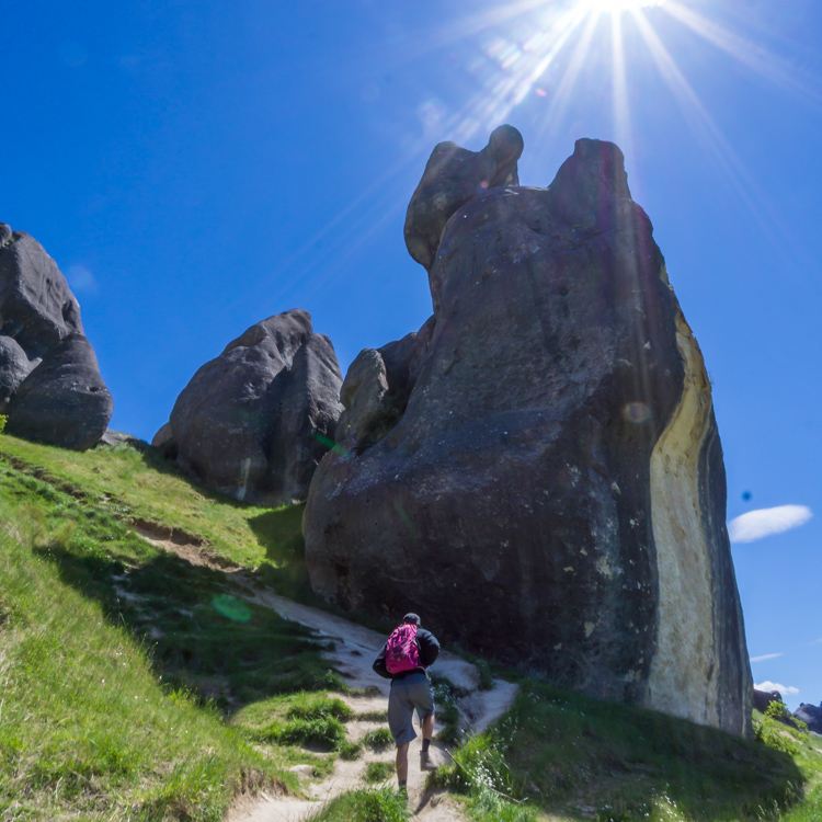 Exploring the limestone boulders of Castle Hill on south island