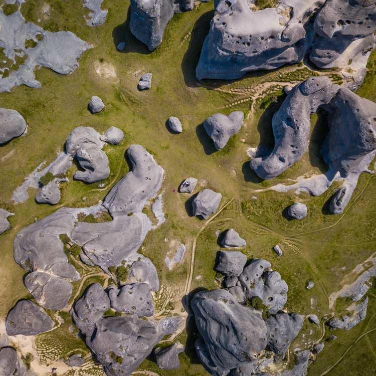Aerial view of the boulders at Castle Hill
