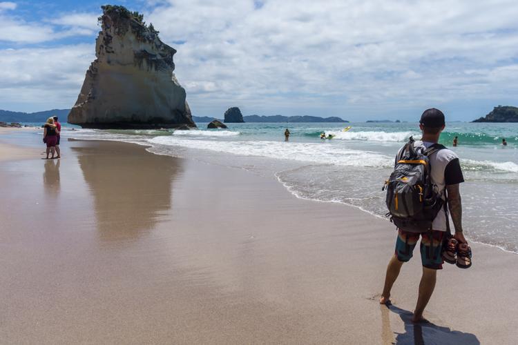 Looking down the shore to Te Hoho Rock