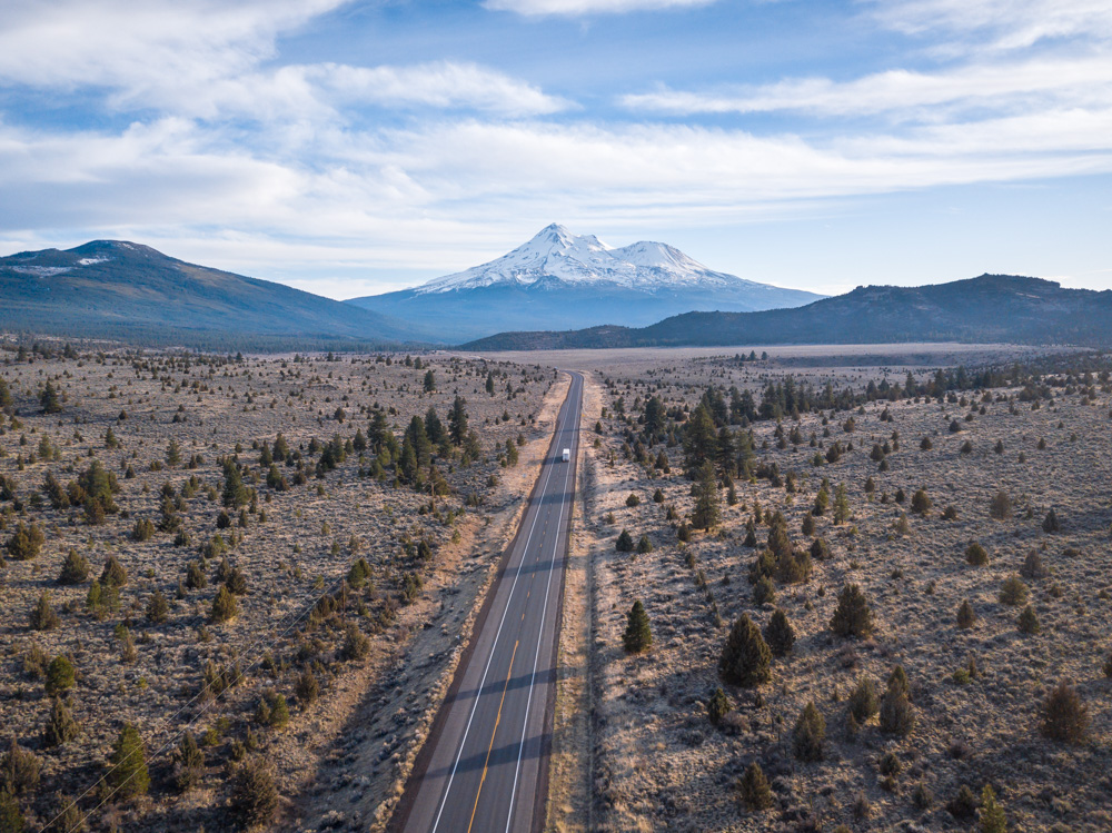 The type of landscape around Mammoth and Hwy 97