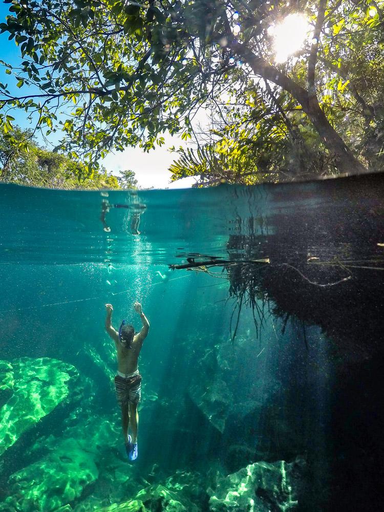 Snorkeling in Cenote Escondido in the Yucatan Peninsula