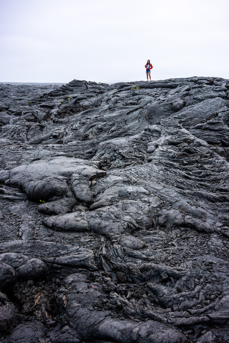 Walking on lava fields at Volcanoes National Park