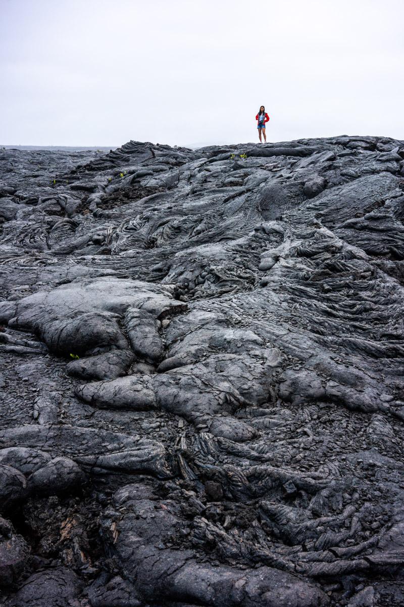 Walking on lava fields at Volcanoes National Park