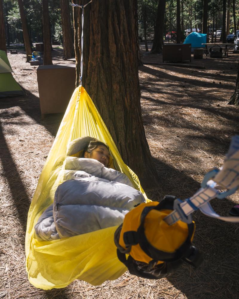 Nap time while car camping in Yosemite
