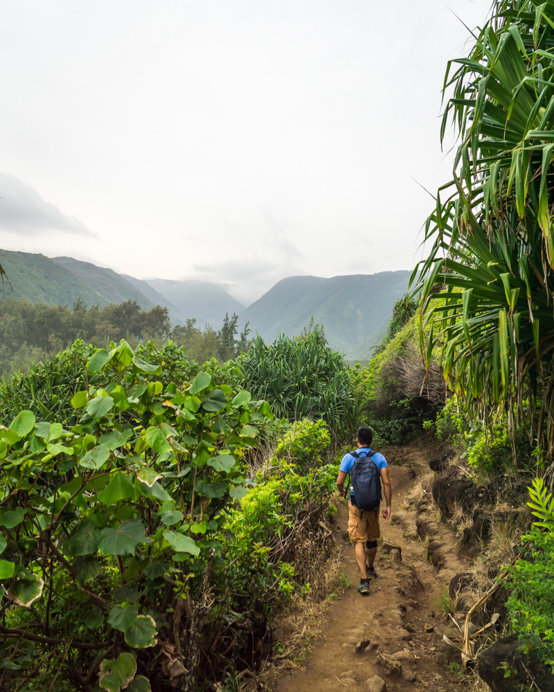 hiking down into pololu valley