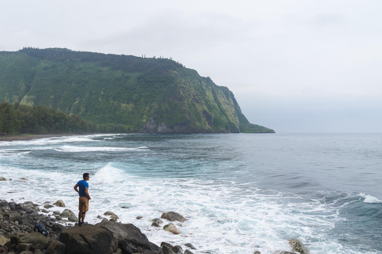 Admiring the coastal views from the bottom of Waipio Valley