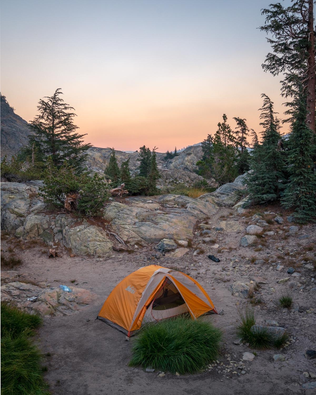 Our weekend camp spot at Minaret Lake