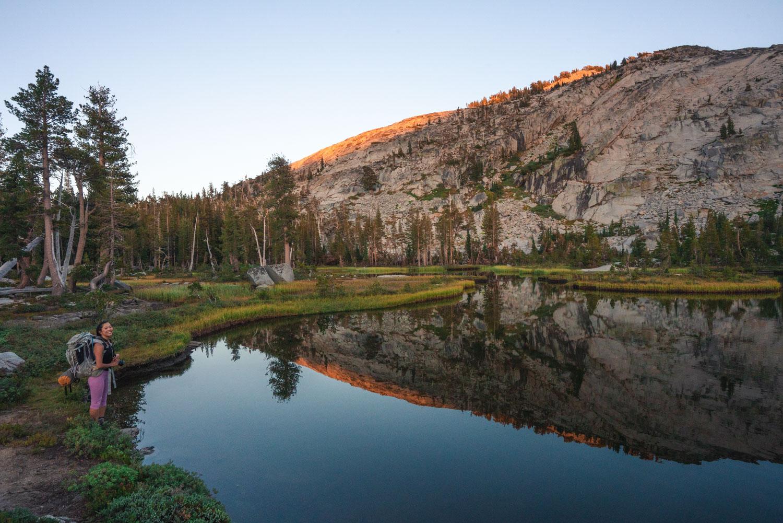 A glassy, no-named lake near the trail