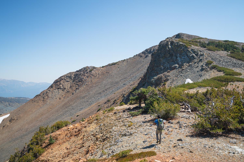 On the ridge below the summit