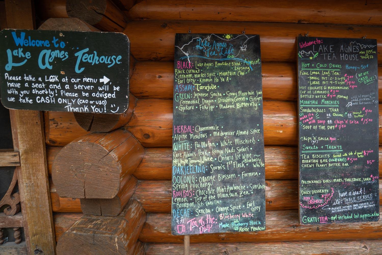 The menu board outside the teahouse