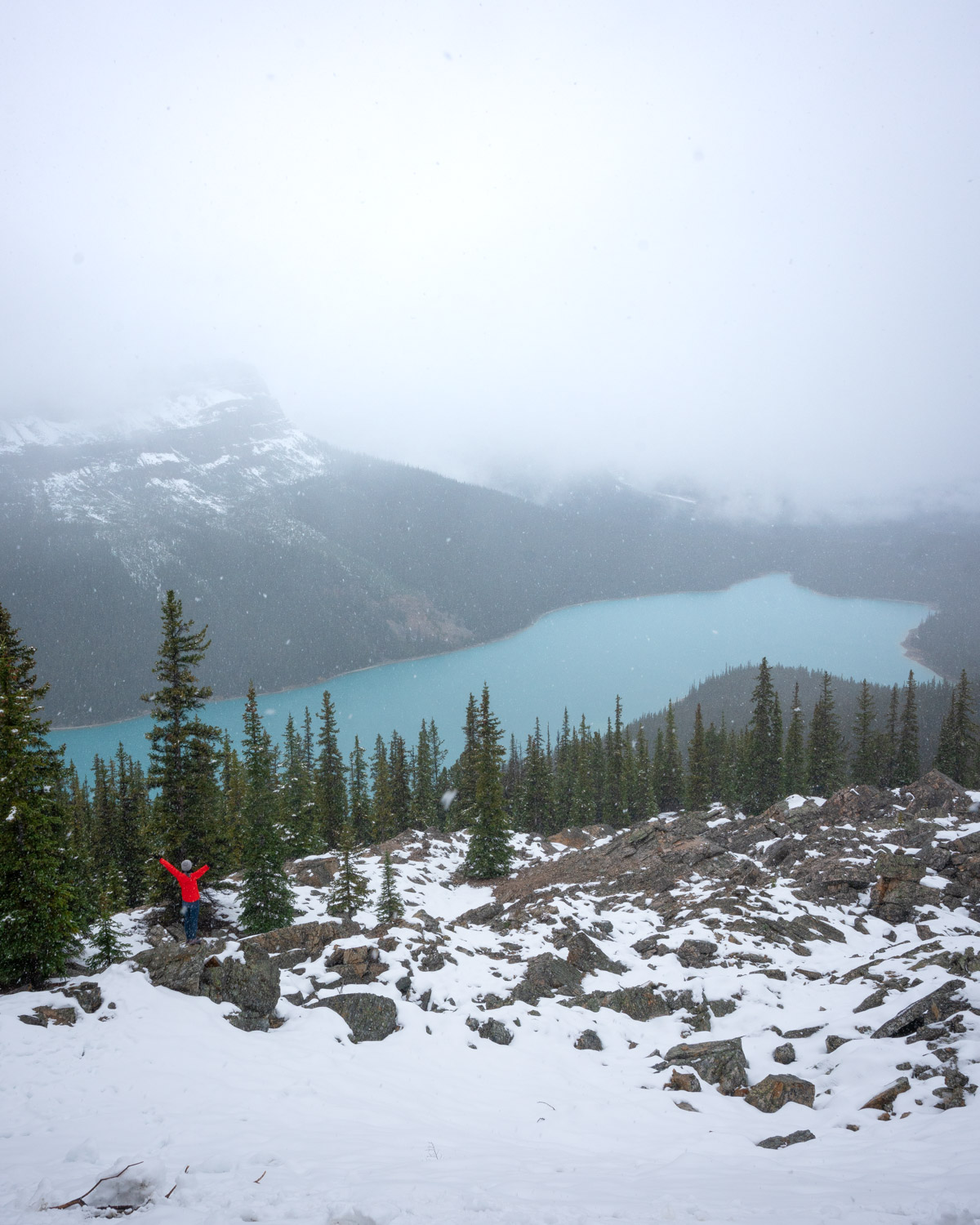 september banff winter trip peyto lake hike