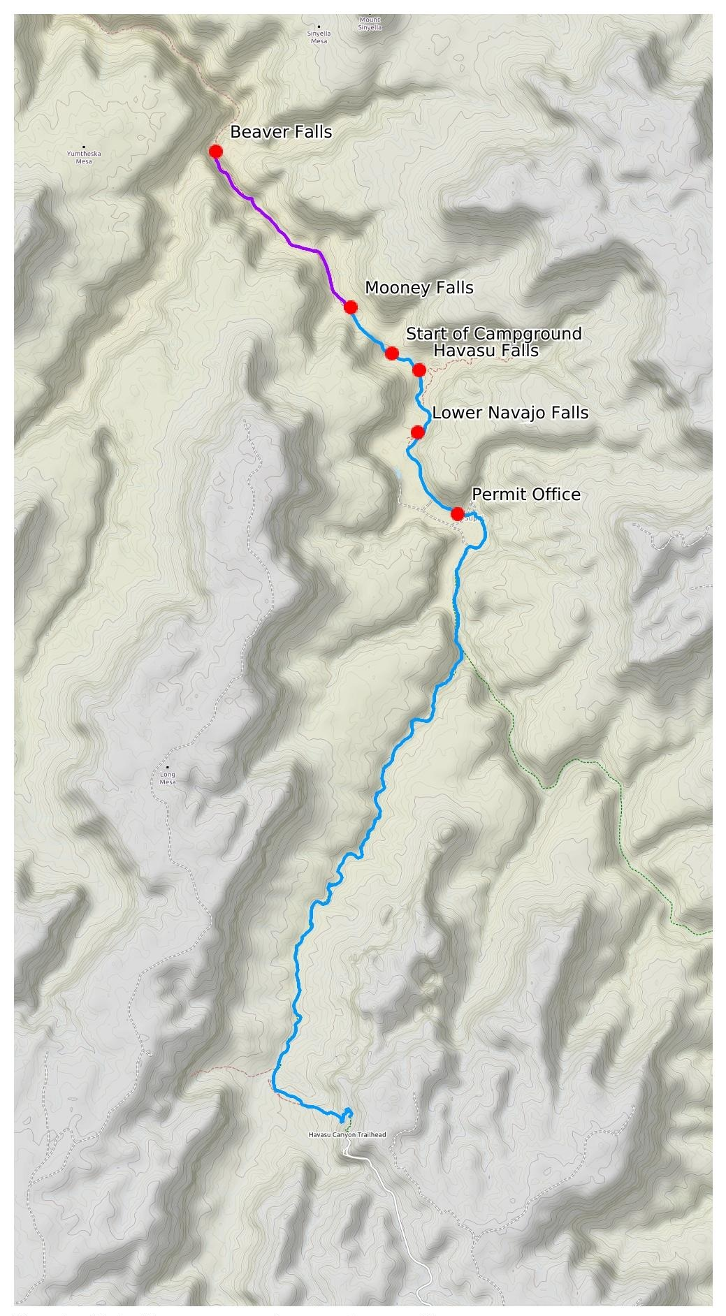 Trail map for our four day Havasu Backpacking trip, including a day hike down to Beaver Falls from the campground
