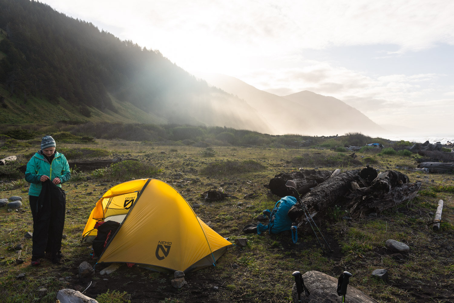 Backpacking camp sites on the Lost Coast Trail - Spanish Creek