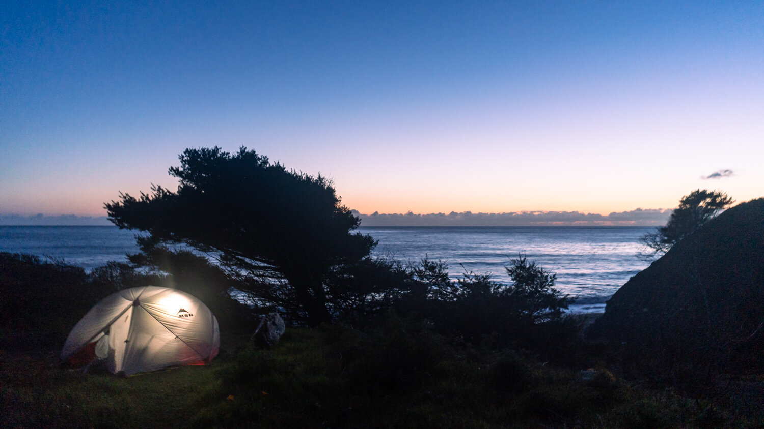 Home sweet home for our final night - our go-to MSR Hubba Hubba tent