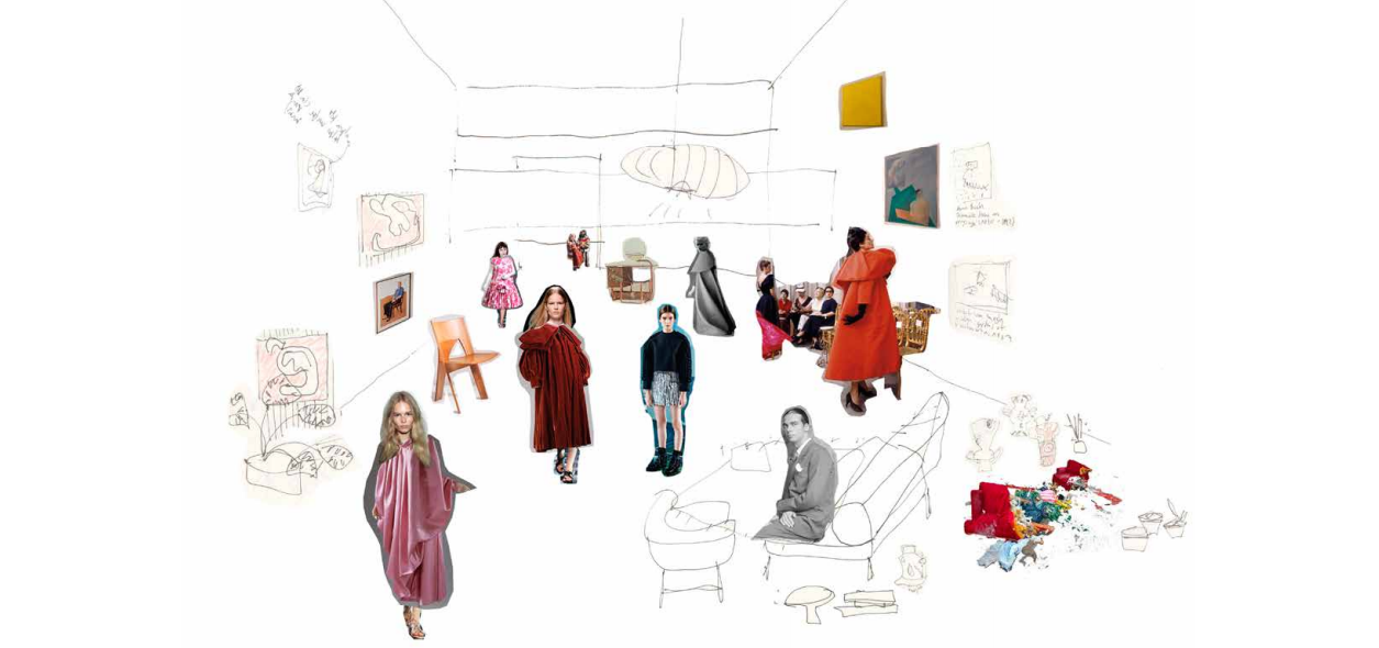 Architecture student and artist Silvia Garcia blends sketch and collage work to create mixed-media architectural drawings. Her Balenciaga-inspired mixed-media sketch.