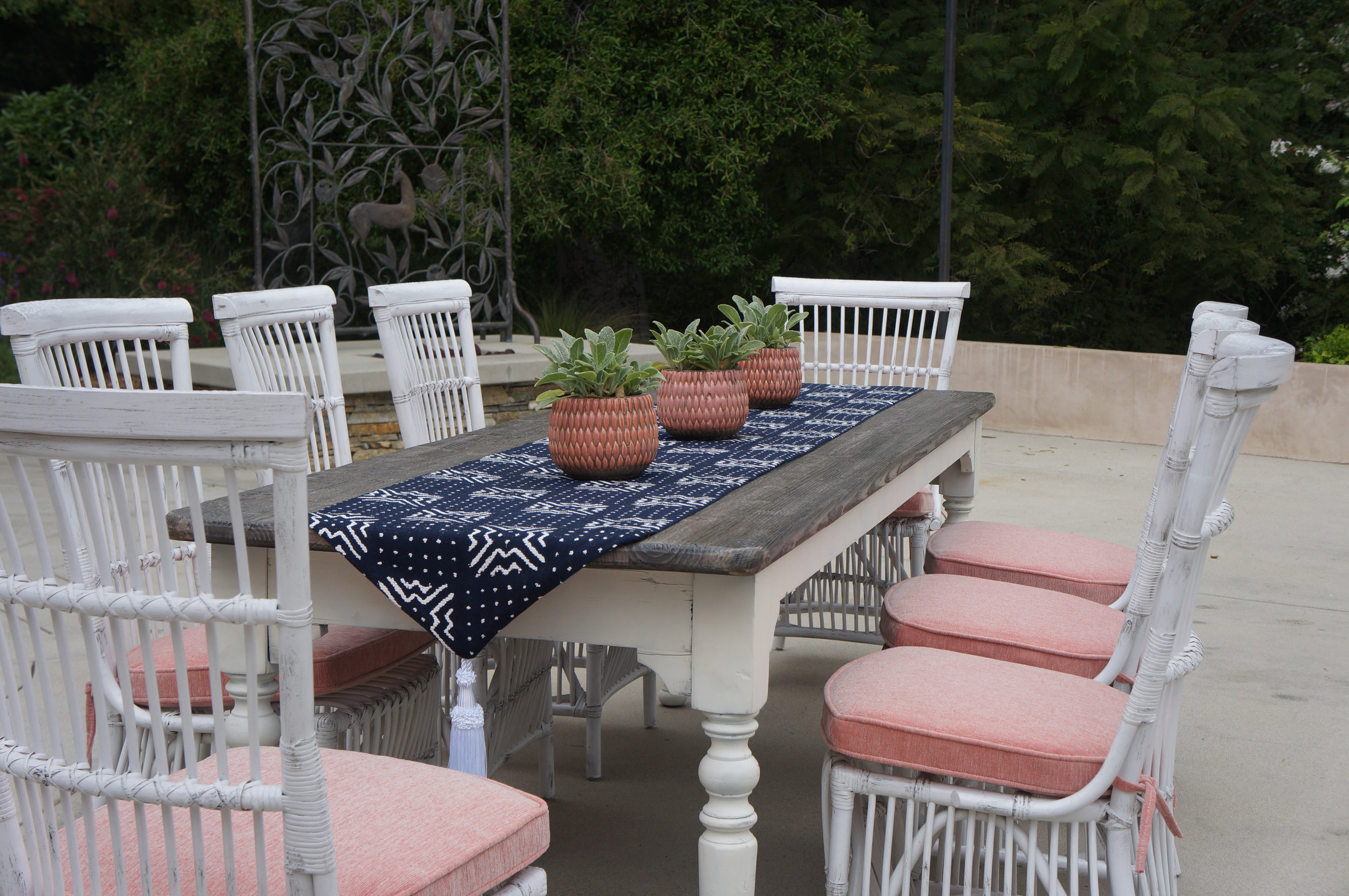 Outdoor dining area without styling