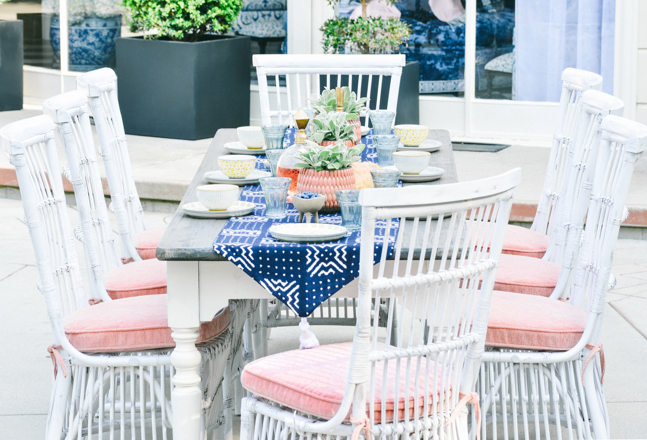 Outdoor dining area with styling