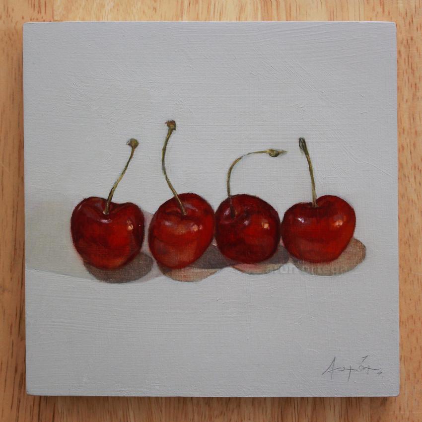 Cherries - Oil on Board, 6 x 6 in.