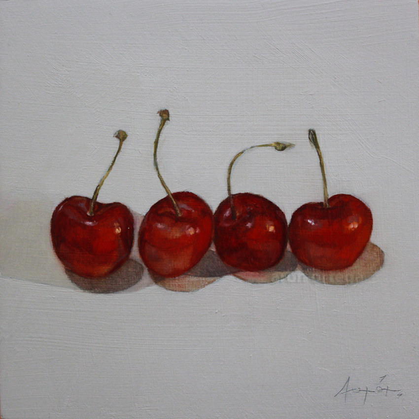 Row of Cherries, Oil on Wood, 6 x 6 in. 2011