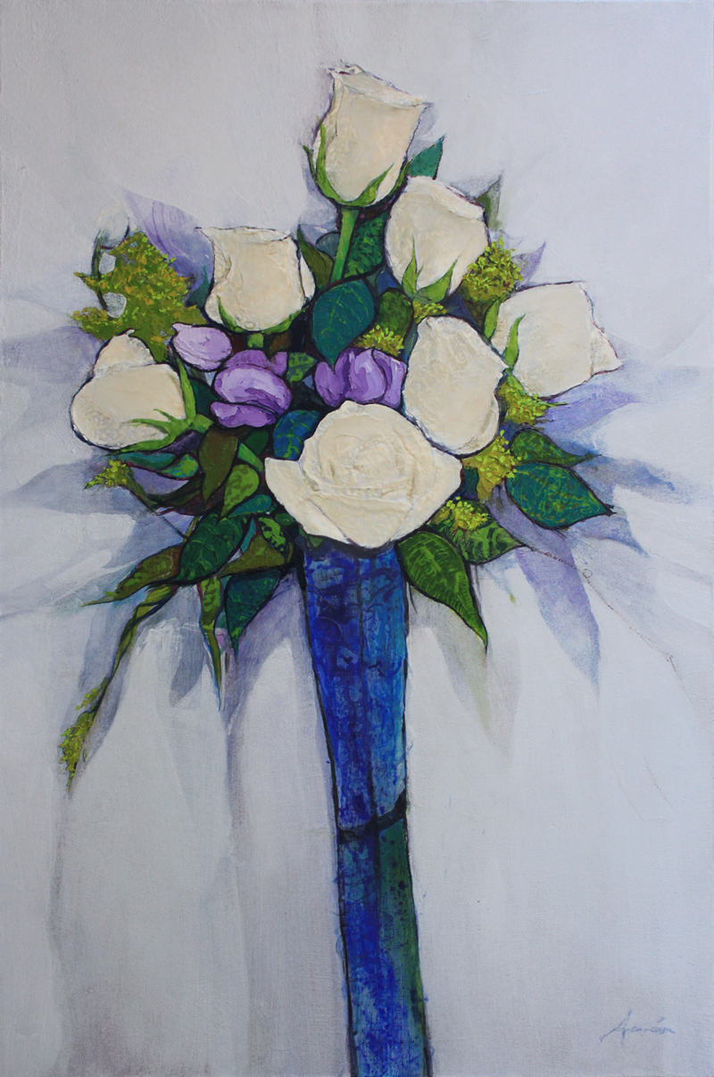 Floral, Acrylic on Canvas, 36 x 24 in. 2007
