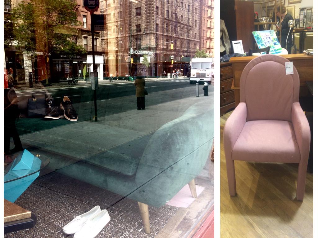 Linker foto is vooral artistiek, maar het gaat om de groene velvet bank. Stoeltjes rechts is een leuk slaapkamer stoeltje om te bekleden.