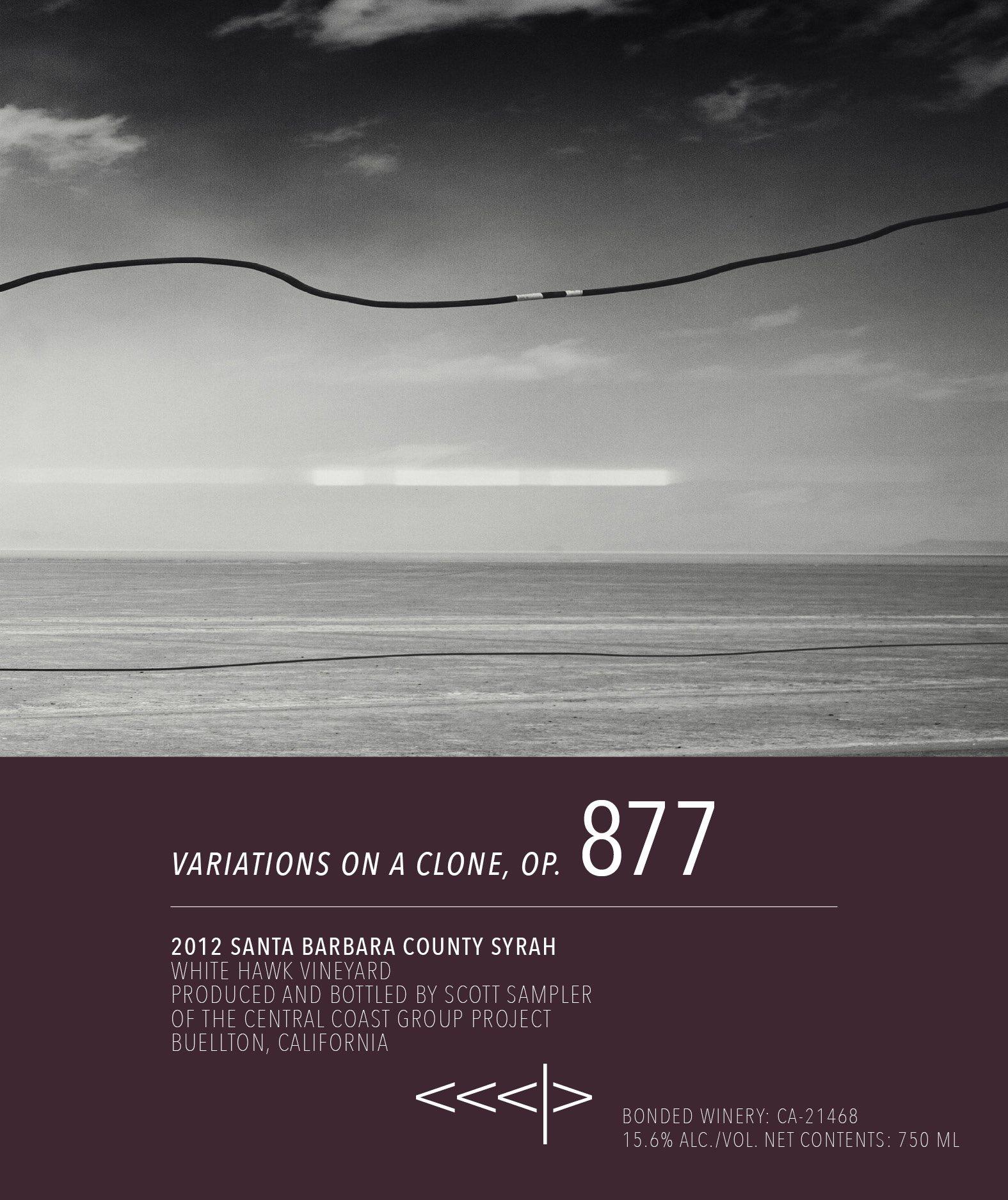 "CCGP 2012 ""VARIATIONS ON A CLONE, OP. 1, 174 & 877"" SYRAH - WHITE HAWK VINEYARD - SANTA BARBARA COUNTY (sold-out)"