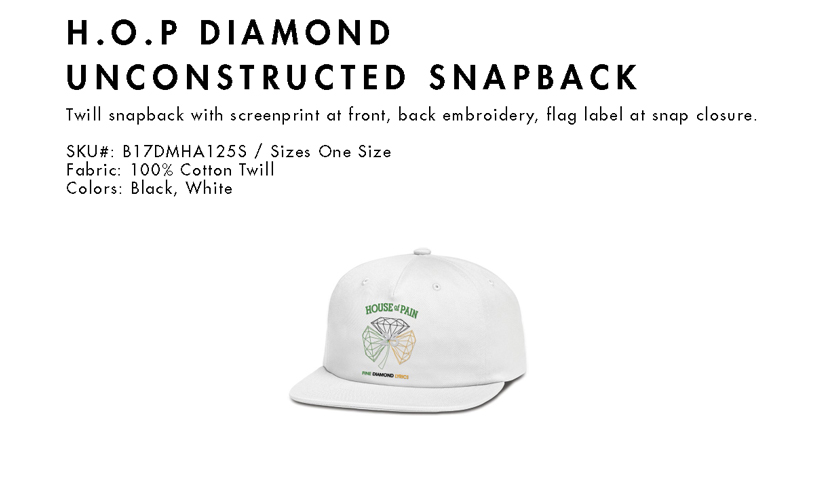 House of Pain X Diamond Snapback Cap H.O.P.