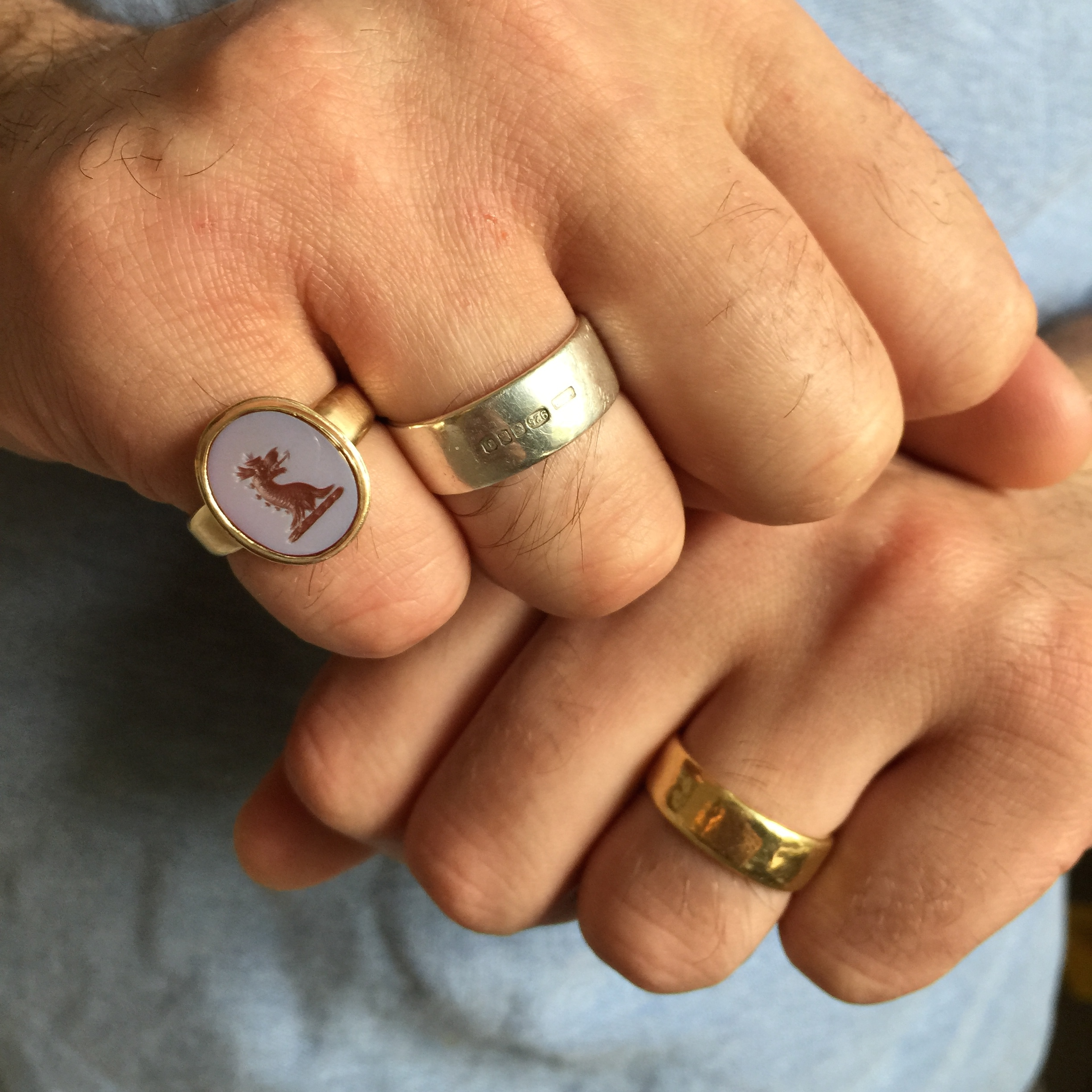 My husband's rings, with his new addition! I also made the other two...his 18ct yellow gold wedding band from 2012, and the silver band with feature hallmark was a gift for our 2nd year dating anniversary in 2004.