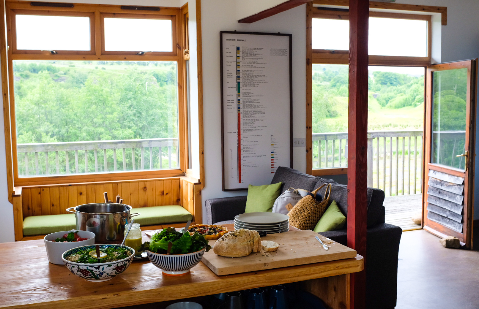 All ready for lunch with a view over the quarry and surrounding countryside.