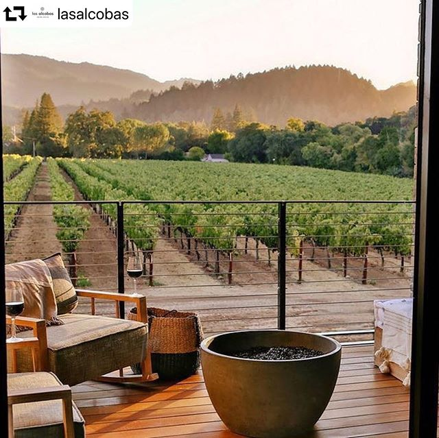 Doesn't this look like a beautiful location to unwind with a glass of wine and enjoy watching the sunset on the vines? ❤️ #napavalley #winecountry #california #getaway #winepics #winestagram #winelover #sobremesa #lasalcobas  #repost @lasalcobas