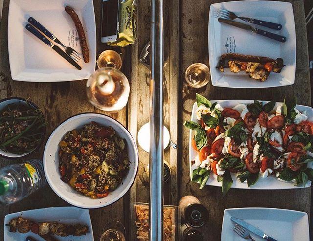 Sausage party 🍷🍅⚓️ #crew #spread #candlelight #sailor #kinfolk #kinfolktable #vsco #feast #mediterranean #team #boat #boatlife #marketday #nourish #dufour #captainandcharlie