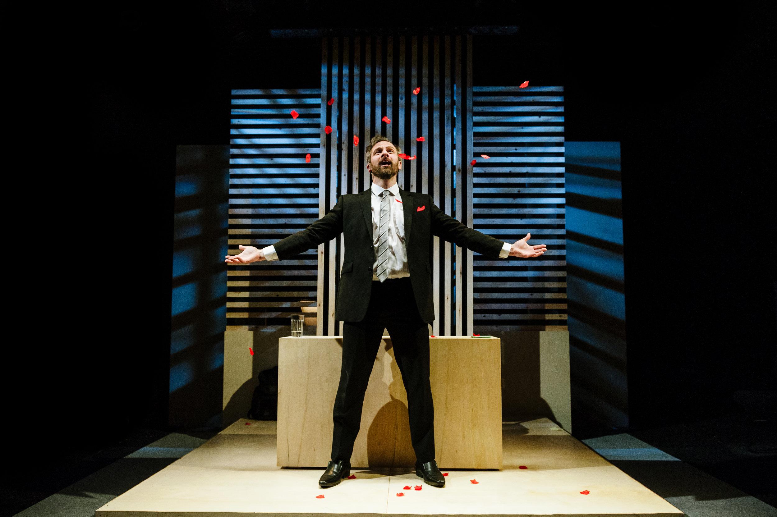 Michael Rouse in Superhero at Southwark Playhouse. Credit Alex Brenner (6).jpg