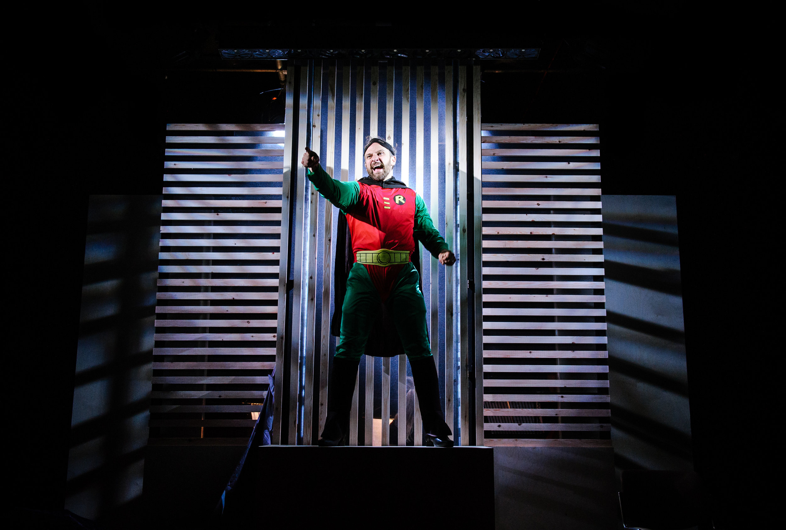 Michael Rouse in Superhero at Southwark Playhouse. Credit Alex Brenner (5).jpg