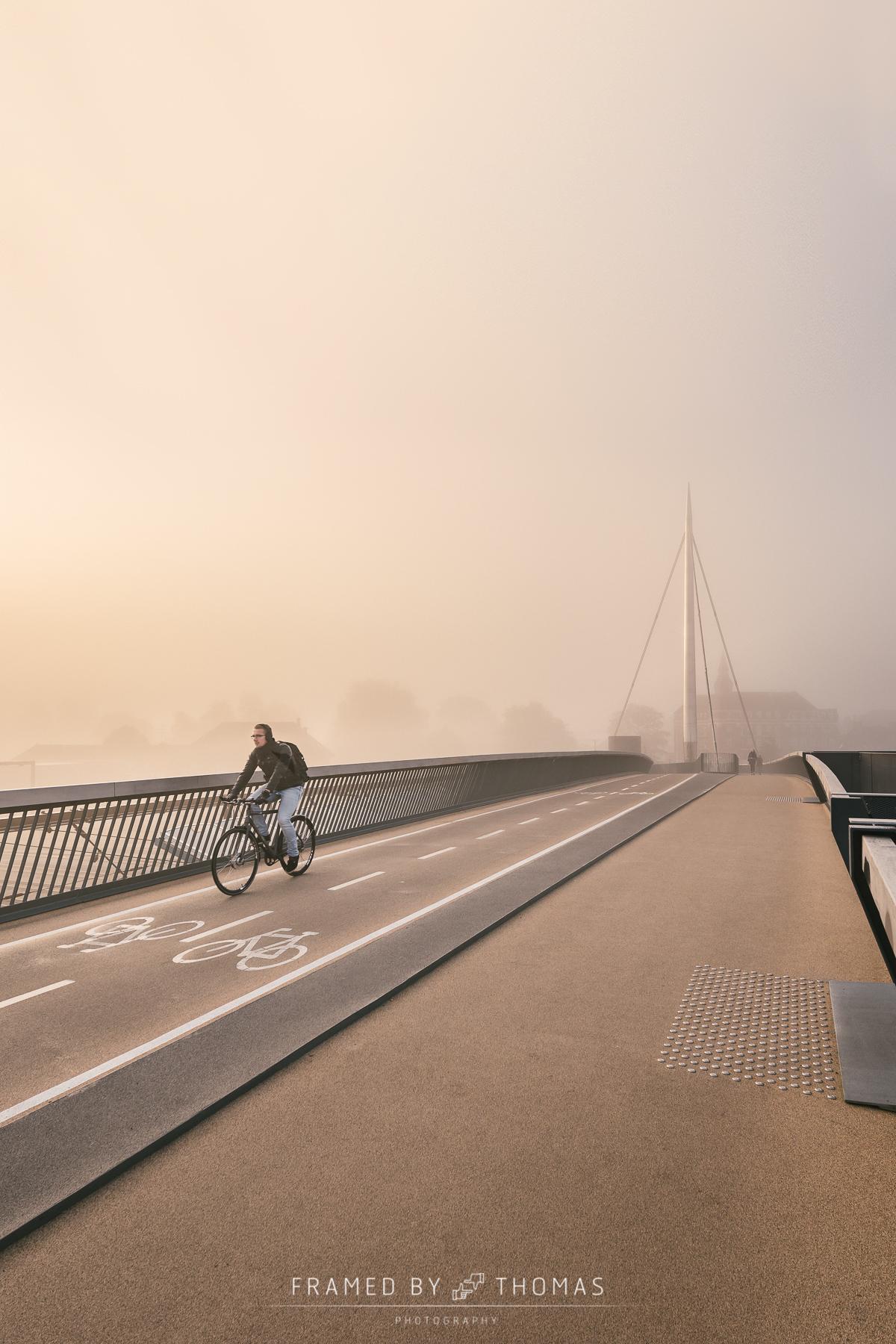 Odense, Denmark - October 5, 2015: Misty morning at Byens bro wi