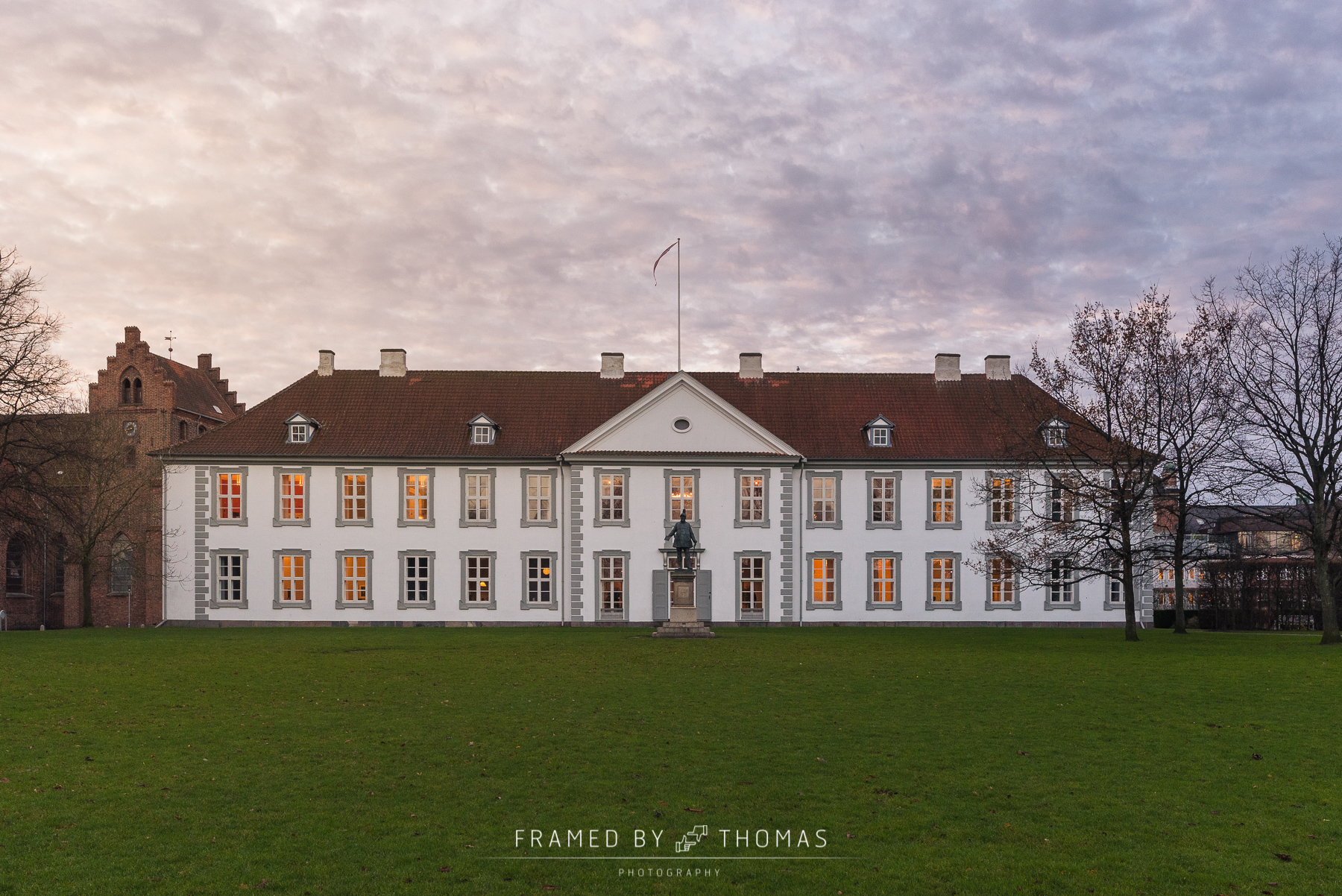 Odense, Denmark - December 7, 2015: The front of Odense slot (ca